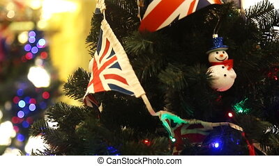 Christmas tree decoration with british flag at home
