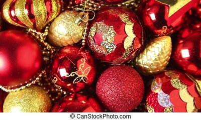Christmas tree decorations close-up