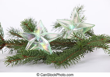 Christmas tree decorations on branch
