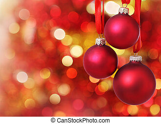 Christmas tree decorations on lights background - Red...