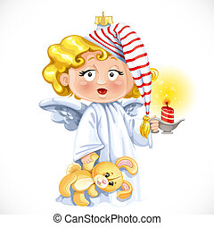 Christmas tree decorations toy  little angel with candleholder with candle isolated on white background