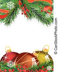 Christmas tree decorations with red ribbon