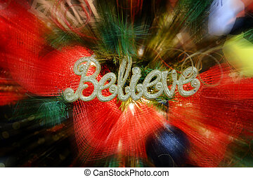 Christmas Tree Decorations with Word Believe