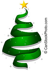Christmas Design Featuring a Strip of Ribbon Shaped Like a Christmas Tree