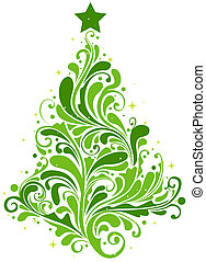Christmas Tree Design Featuring Abstract Swirls Shaped Like...