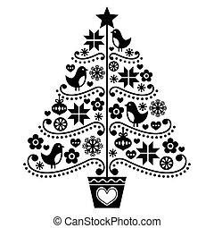 Christmas tree design - folk style - Retro style black Xmas...