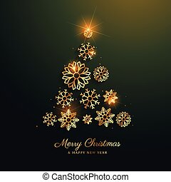 christmas tree design made with golden snowflakes decoration