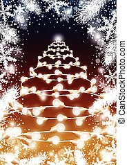 Christmas tree design of light bulb with fir leaves and snowflake