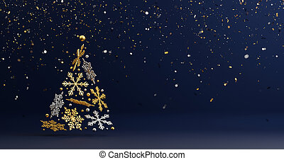 Christmas tree design of luxury snowflake with foil confetti falling on blue background 3d render