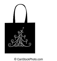 Christmas tree, design of shopping bag