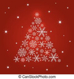 Christmas tree design of snowflake on red background vector illustration