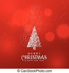 christmas tree design with decorative element on red background