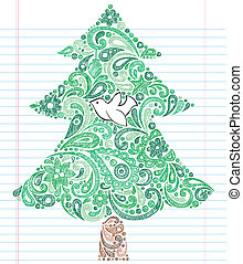Christmas Tree Dove Sketchy Doodle