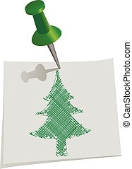 Christmas tree drawn by hand on paper for notes with push pin, vector illustration