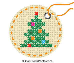 Christmas tree embroidered on a piece of tissue.