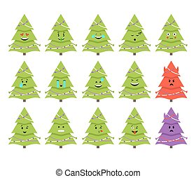 Christmas tree emoticons. Vector. Isolated on white.