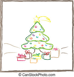 Christmas tree - Graphic design - Christmas tree with gifts