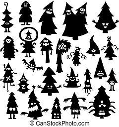 christmas tree - Collection of cartoon funny christmas tree...