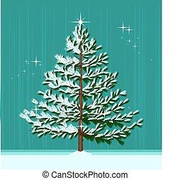 Christmas Tree - Isolated Christmas Tree on abstract