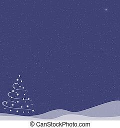 Christmas Tree - Falling Snow - Blue Indigo - Abstract...