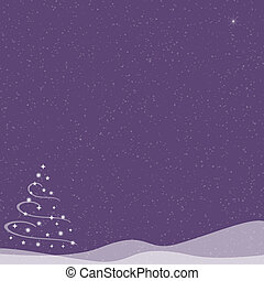 Christmas Tree - Falling Snow - Purple