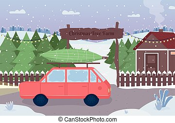 Christmas tree farm flat color vector illustration
