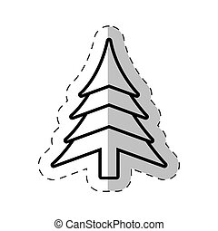 christmas tree festive cut line vector illustraiton eps 10