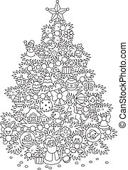 Christmas tree - Fir decorated with toys and balls to the ...