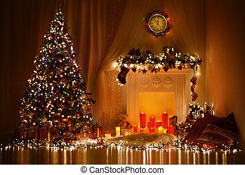 Christmas Tree Fireplace Lights, Decorated Xmas Living Room...