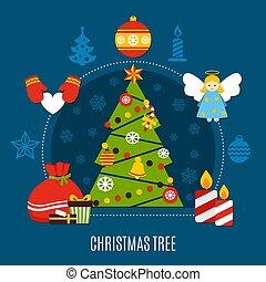 Christmas Tree Flat Composition