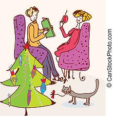 Christmas tree for cat funny cartoon