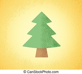 Christmas tree for decoration on a yellow background with abstract snow. Vector illustration.