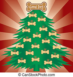 Christmas tree with dog bone treats. Good dog gingerbread ornament, red ray background.