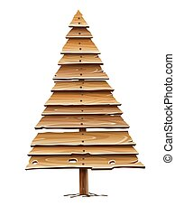 Christmas tree for holiday made of old wooden planks. Vector.