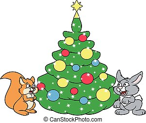 Christmas tree for squirrel and rabbit