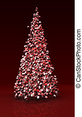 Christmas tree formed by cubes