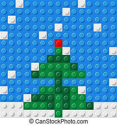 Christmas tree formed from plastic construction blocks