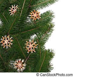 Christmas tree frame - Christmas tree twigs with straw stars...