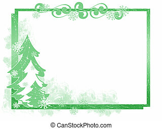 Green Christmas tree frame with snowflakes