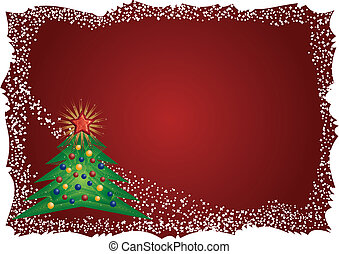 Christmas tree frame on red background