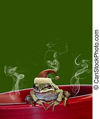 Christmas Tree Frog Sitting on Red Mug 2
