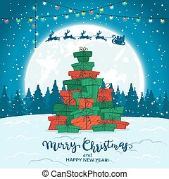 Christmas Tree from Gifts on Winter Background