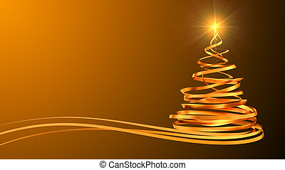 Christmas Tree From Gold Tapes Over Yellow Background