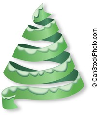 Christmas tree from ribbon with snowy rim