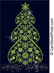 Christmas tree from snowflakes