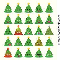 Christmas tree funny emoticons isolated set