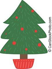 Christmas tree garland holiday winter xmas gifts fir vector illustration.