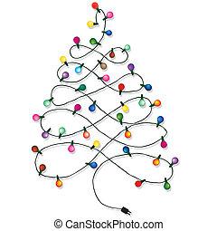 Christmas tree garland lights string of Christmas vector ...