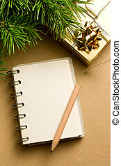 Christmas tree, gift and notepad