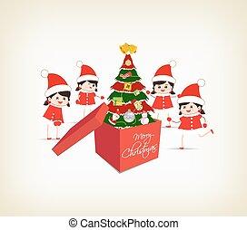 christmas tree gift boxes and kids
